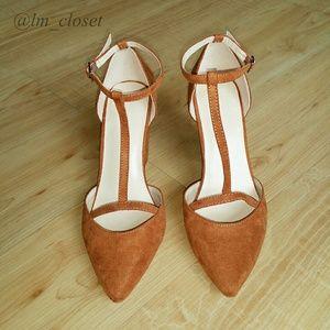 Retro Chunky Heels - Cognac